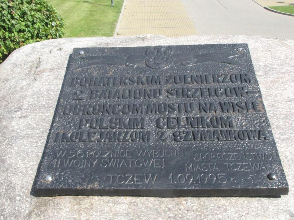Tablica w Tczewie upamiętniająca poległych żołnierzy 2. batalionu strzelców oraz polskich celników i kolejarzy z Szymankowa.