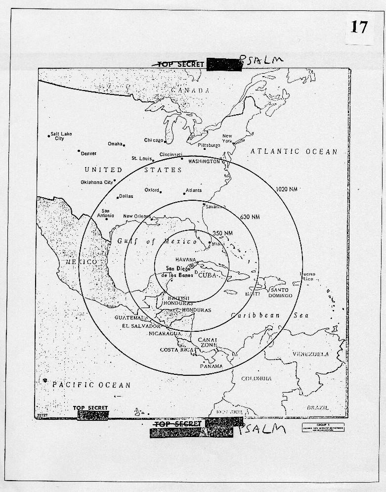 Mapa zasięgu radzieckich rakiet balistycznych rozmieszczonych na Kubie. Dokument ten przedstawiono prezydentowi Kennedy'emu 16 października 1962 roku.. National Security Archive